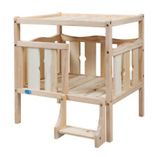 Wooden Dog House for Small Cat Pet Elevated Dog Bed Furniture Flat Top W/ Ladder
