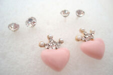 Three Pairs of Diamante Stud Earrings Pink Heart and Crown for Pierced Ears