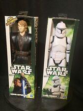 2012 Star Wars Anakin Skywalker and Clone Trooper 12 inch Figures New