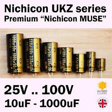 """Nichicon UKZ KZ Premium """"Nichicon MUSE"""" 25V-100V 10uF-1000uF Audio Capacitors"""