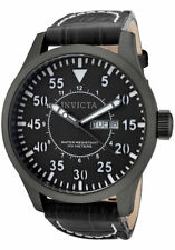 New Mens Invicta 11204 Specialty Black Dial & Dark Grey Genuine Leather Watch