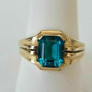 2Ct Emerald Cut Blue Topaz Pinky New Men's Ring 14K Yellow Gold Over