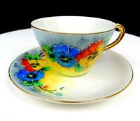 "JAPANESE PORCELAIN ELSIE SEES SIGNED MULTICOLOR FLORAL 2 1/4"" CUP AND SAUCER"