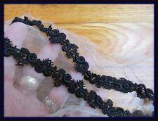 """Antique Dimensional Tiny Black Cotton Lace Trim 2 Pcs. 5/8"""""""