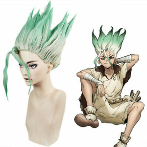 Anime Dr.Stone Ishigami Senkuu Cosplay Wig Short Hair Green Mix Synthetic Props