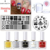 6pcs/set BORN PRETTY Plaque de Stamping Vernis Ongle Stamping Tampon Raclette