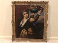 Antique Lady Woman Portrait Oil Painting with Fruit After Titian 19th Century 9d