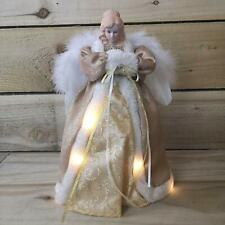 Gold Christmas Tree Top Angel 30cm White Feather Wings LED Lights