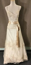 Maggie Sottero BEAUTIFUL Gold Tone Cream Lace Corset Wedding Dress