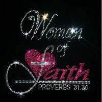 V-NECK CHRISTIAN RHINESTONE WOMENS SHORT SLEEVE TEE SHIRT SM - 3XL PLUS BLING