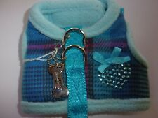 "blue plaid HEART XS Body Harness Vest Pet Dog new teacup XSmall 9"" puppy"