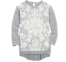 Girls Mayoral Sweater Dress Grey with White Velour Printed Organza Size 8 New