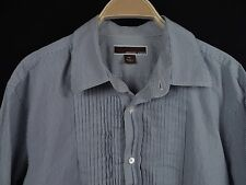 MICHAEL KORS Men's Ruffled Striped Button-Front Dress Shirt Size XL