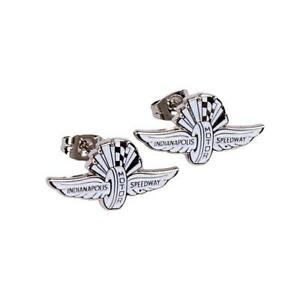 Indianapolis Motor Speedway Wing Wheel & Flags Sterling Silver Earrings Indy 500