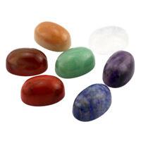 7pcs Natural Crystal Oval Stone Set Polished Engraved Crystal Reiki Symbol