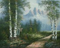 "16""x20"" Oil Painting on Canvas, Mountain Landscape, Genuine Hand Painted"