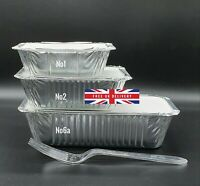 50 x Aluminium Foil Hot Food Containers Box + Lids Home Takeaway - ALL SIZES