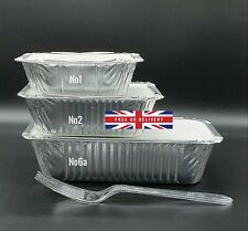 More details for aluminium foil hot food containers box + lids home takeaway - all sizes x 20
