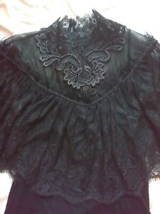 Punk Rave Black Lace Top Black Gothic Lolita Steampunk Victorian UK 10 - 12