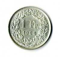 Moneda Suiza 1966 B 1 franco suizos plata .835 silver coin Helvetia
