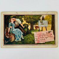 Antique 1911 Postcard Artist Signed C Ryan Teacher Student Kissing Forbidden