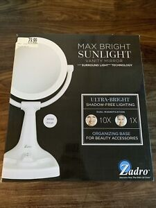 ZADRO Max Bright Sunlight Dual Sided Vanity Mirror White 10X/1X Magnification