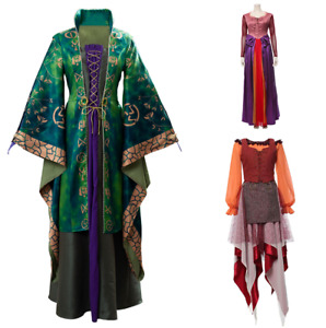 Hocus Pocus Winifred & Sarah & Mary Sanderson Cosplay Costume Halloween Dress