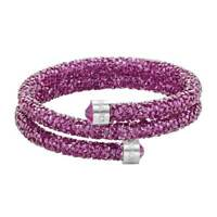 Swarovski Women's Bangle Bracelet Crystaldust Double Wrap, Pink, Medium 5273643