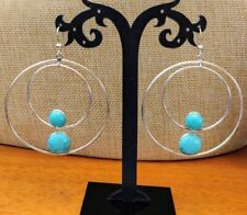 Jay King Campitos Turquoise Concentric Hoop Drop Sterling Silver Earrings NWT