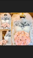 Wedding Bridal Bouquet Brooch Vintage Style - Peach Satin, Rhinestone Handmade
