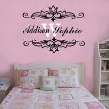 Wall Stickers custom baby Name flower I decal decor Nursery Vinyl home kids room