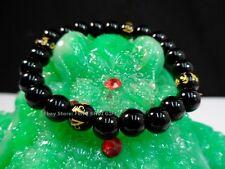 Feng Shui MANTRA Round Black Bead Protection Nun Monk Tibetan Lucky Bracelet #S