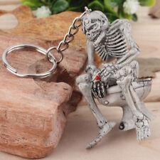 Skull Toilet Keyring Keychain Men Creative Rubber Keyfob Auto Car Key Chain Gift