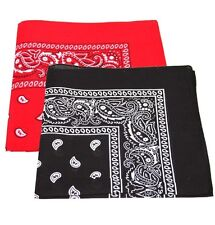 Pack Of 2 Paisley Design Bandanas Red And Black BEST DEAL