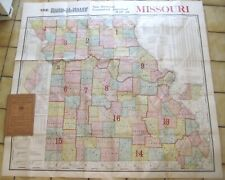 Huge 1909 Rand McNally MISSOURI Map Electric Railroads Congressional Districts