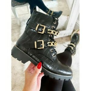 NEW WOMENS GOLD CHAINS COMBAT BIKER MILITARY FLAT ANKLE BOOTS LADIES SHOES