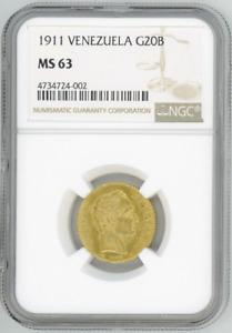 Venezuela 20 Bolivares 1911 BOLIVAR NGC-MS63 Choice Brilliant Uncirculated gold