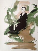 JACQUES PECNARD (1922-2012) RARE LITHOGRAPHIE SIGNEE LA CHANTEUSE BARBARA (5)