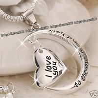 Love Heart & Moon Pendent Necklace Silver Gift For Her Wife Mum Daughter Sister