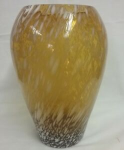 """ELEGANT GOLD COLORED GLASS VASE DIMENSIONS: 9.25"""" H X 3 3/4"""" OPENING"""