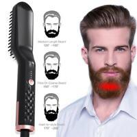 Men Multifunctional Beard & Hair Straightener Beard Curling Comb Electric Brush