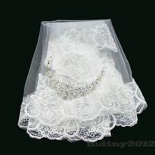NEW Long bridal wedding 1T Veil White Ivory 1.5m elbow Lace Edge