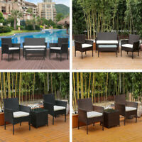 3/4pcs Rattan Wicker Patio Furniture Table Chairs Set Outdoor Backyard Garden