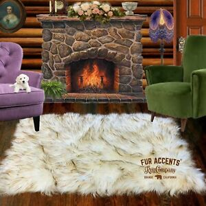 Arctic Wolf Shag Faux Fur Area Rug, Rectangle, Sheepskin Carpet, Bonded Suede