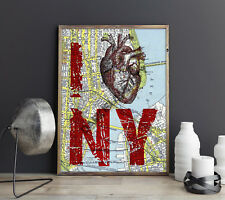 NEW YORK CITY MAP PRINT set of 2 Poster Print Wall Picture PRINTABLE Digital
