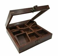 Wooden Spice Box with 9 ANTIQUE SPICE BOX - Made Of Finest Wood Multipurpose Box