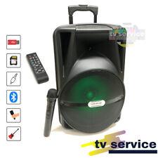 Cassa Acustica Amplificata Trolley Karaoke con Microfono senza filo