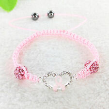 Adjustable Heart Pink Ribbon Breast Cancer Awareness Connector Ball Bracelets