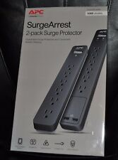 APC Surge Protector 2 pack 1080 joules 6 outlets 2 USB ports Model #PE6U2 NEW