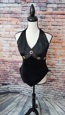 Cache Women's Black SUEDE LEATHER Sleeveless SATIN Evening Halter Top Sz 6 EUC